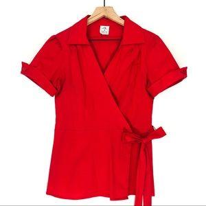 Ali & Kris Red Short Sleeve Wrap Tie Waist Blouse